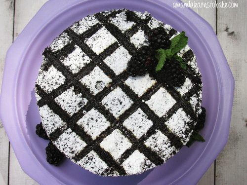 top of blackberry marshmallow sizzle cake