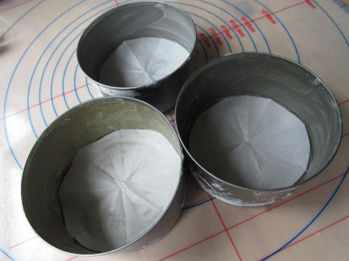 three greased cake tins