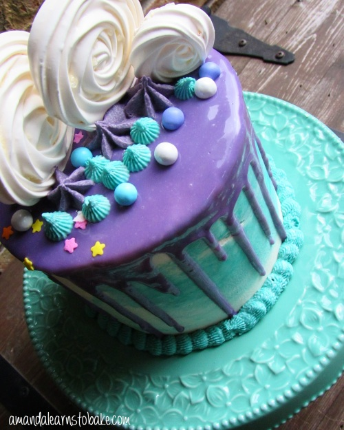 purple teal drip cake top view